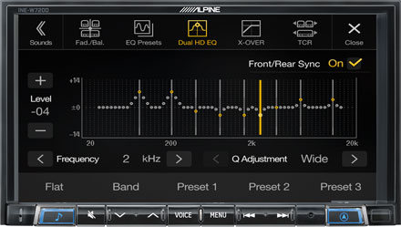 High-end Sound Tuning Options - INE-W720D