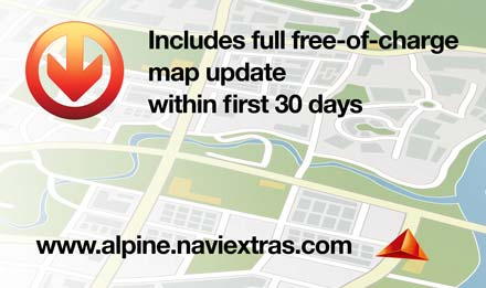 Free map update within 30 days after first usage - INE-W990HDMI